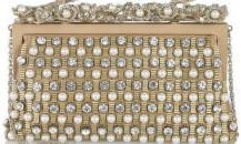 华伦天奴金色绸缎镶珍珠水晶晚装包