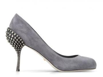 塞尔吉奥·罗西灰色麂皮高跟鞋
