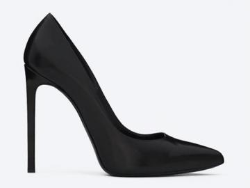 圣罗兰黑色皮革尖头细高跟鞋