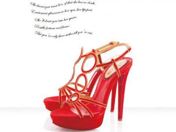 克里斯蒂安·鲁布托饰金边红色麂皮凉鞋