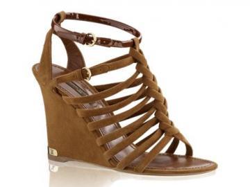 路易·威登焦糖色手工编织楔跟凉鞋