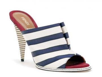 芬迪蓝色白色条纹帆布凉鞋