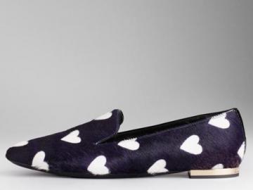 博柏丽饰心形图案蓝紫色皮草船鞋