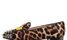 克里斯蒂安·鲁布饰绣章豹纹小马毛船鞋