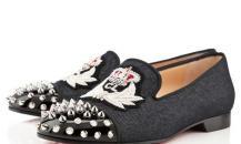 克里斯蒂安·鲁布饰绣章牛仔布船鞋