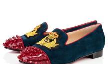 克里斯蒂安·鲁布饰绣章蓝色麂皮船鞋