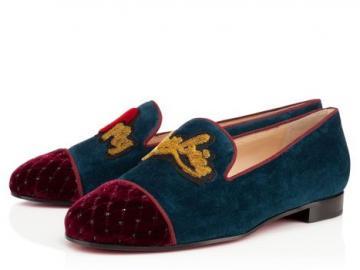 克里斯蒂安·鲁布饰水钻蓝色天鹅绒船鞋