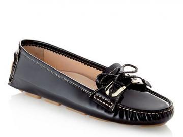 巴利饰蝴蝶结皮革船鞋