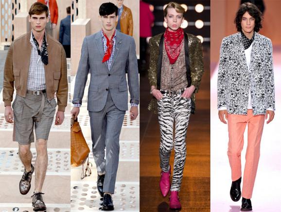 2014春夏男装秀场上,Louis Vuitton (左一、左二)、Saint Laurent(左三)、Paul Smith(左四)均大量采用了领巾作为搭配品